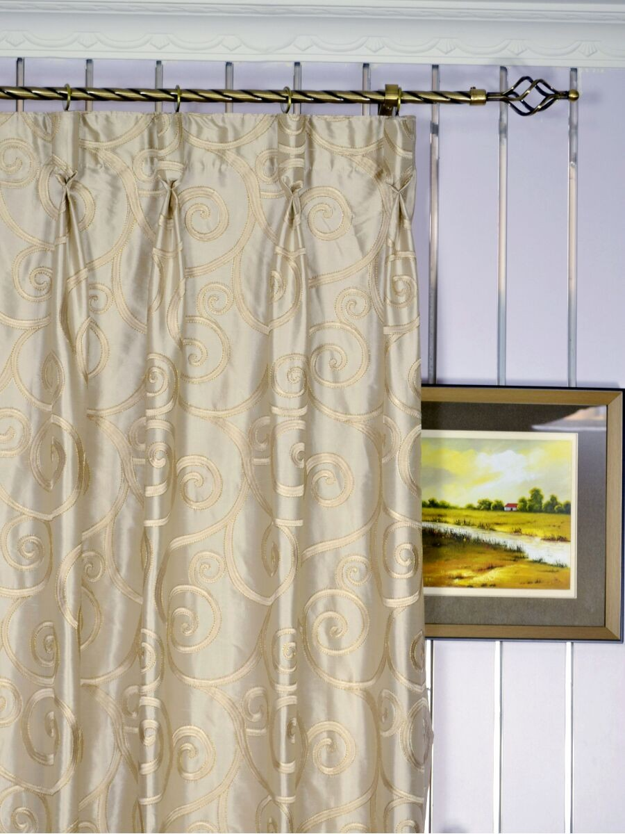 Rainbow Embroidered Scroll Goblet Dupioni Silk Curtains