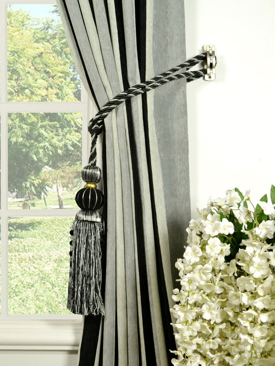 ... Petrel Vertical Stripe Back Tab Chenille Curtains Tassel Tiebacks  Petrel Vertical Stripe Back Tab Chenille Curtains Tassel Tiebacks ...