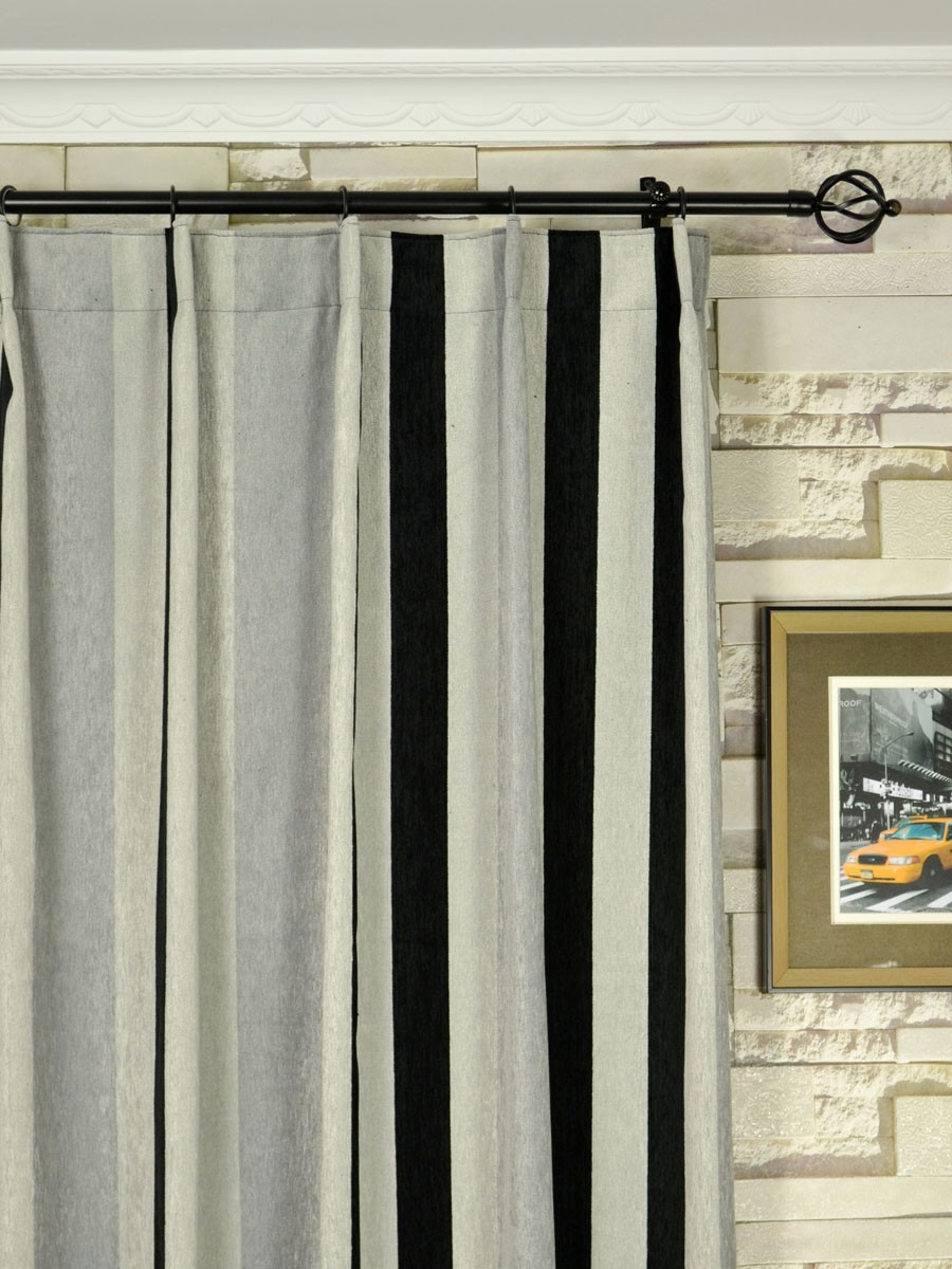 Black and white vertical stripe curtains -  Petrel Vertical Stripe Single Pinch Pleat Chenille Curtains Heading Style Petrel Vertical Stripe Single Pinch Pleat Chenille Curtains Heading Style