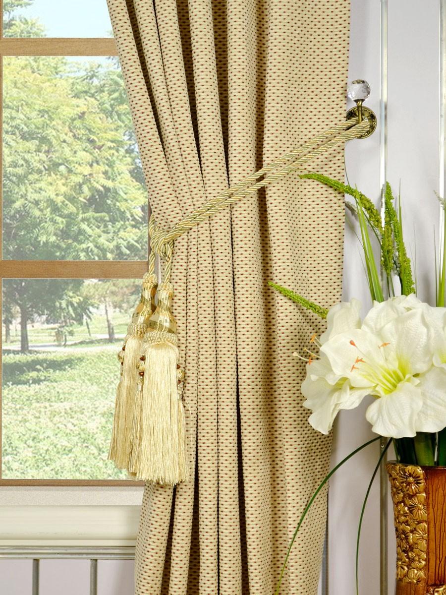 Coral Elegant Back Tab Chenille Curtains