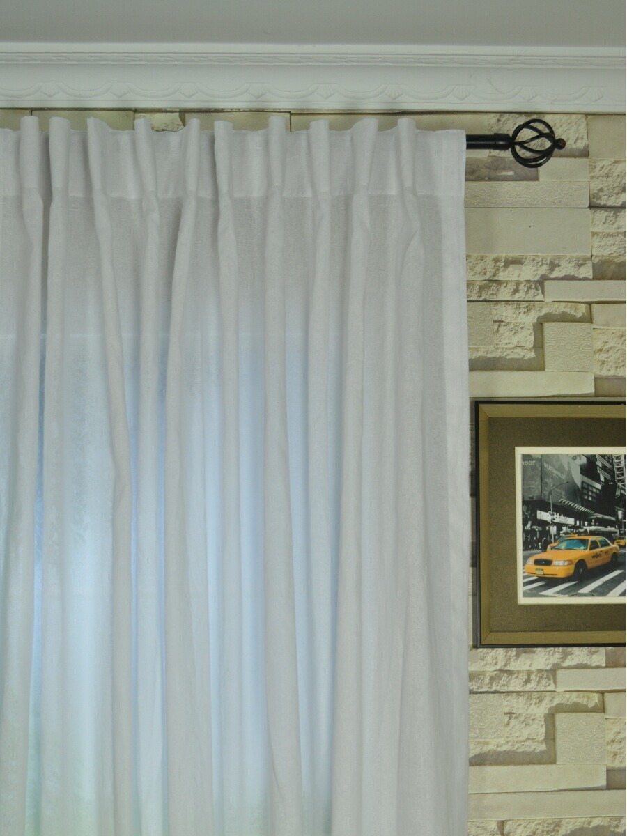 ... QYK246SAG Eos Linen Natural Solid Back Tab Sheer Curtains (Color:  White) QYK246SAG Eos Linen Natural Solid Back Tab Sheer Curtains (Color:  White)