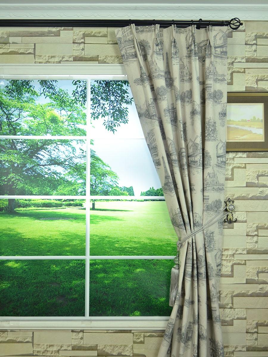 Eos Castle Printed Faux Linen Double Pinch Pleat Curtain