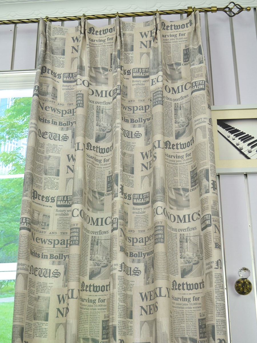 ... Eos Newspaper Printed Faux Linen Versatile Pleat Curtain Fabric Eos Newspaper Printed Faux Linen Versatile Pleat Curtain Fabric ...