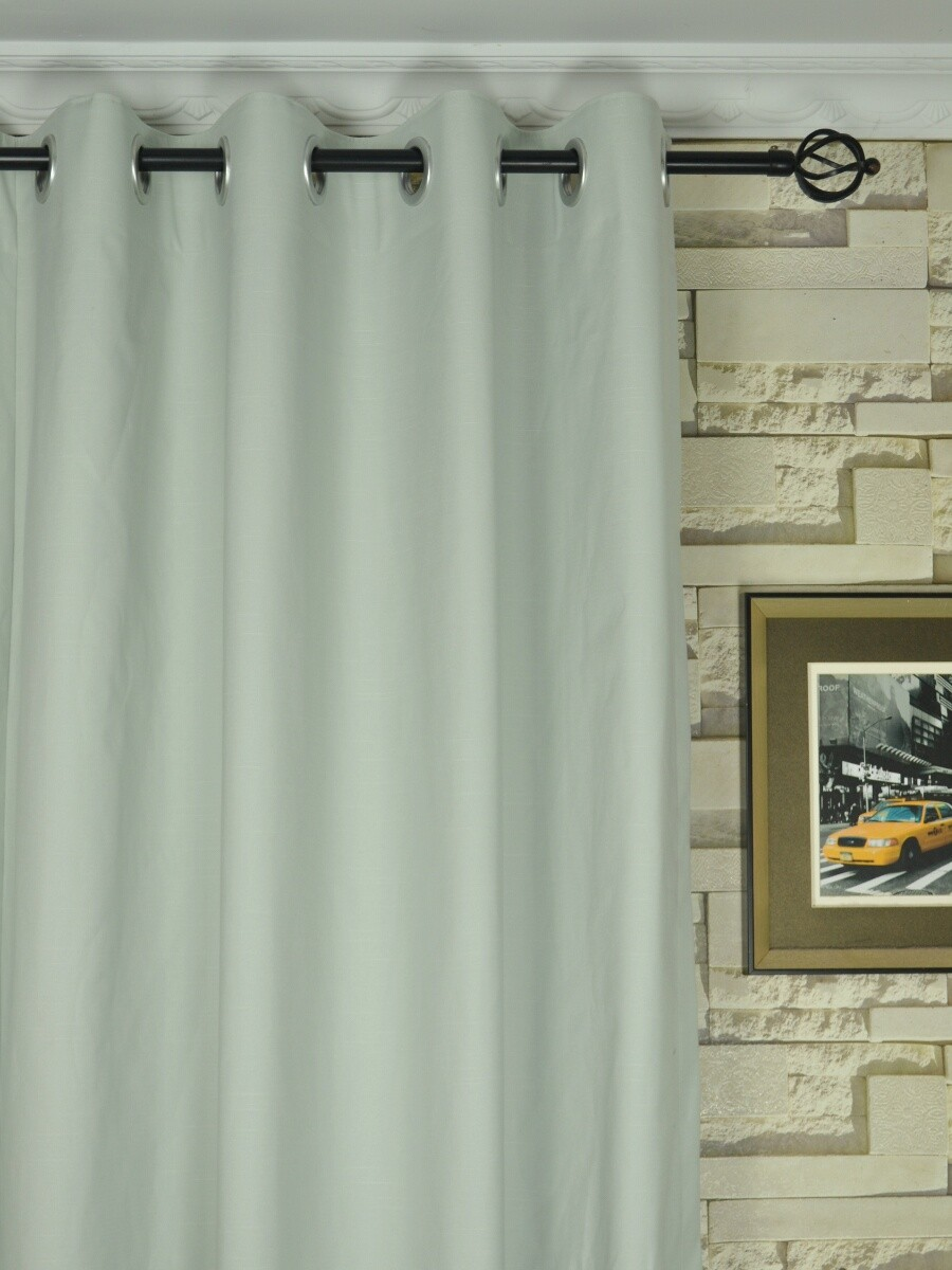 Modern Solid Cotton Blend Blackout Grommet Ready Made Curtain