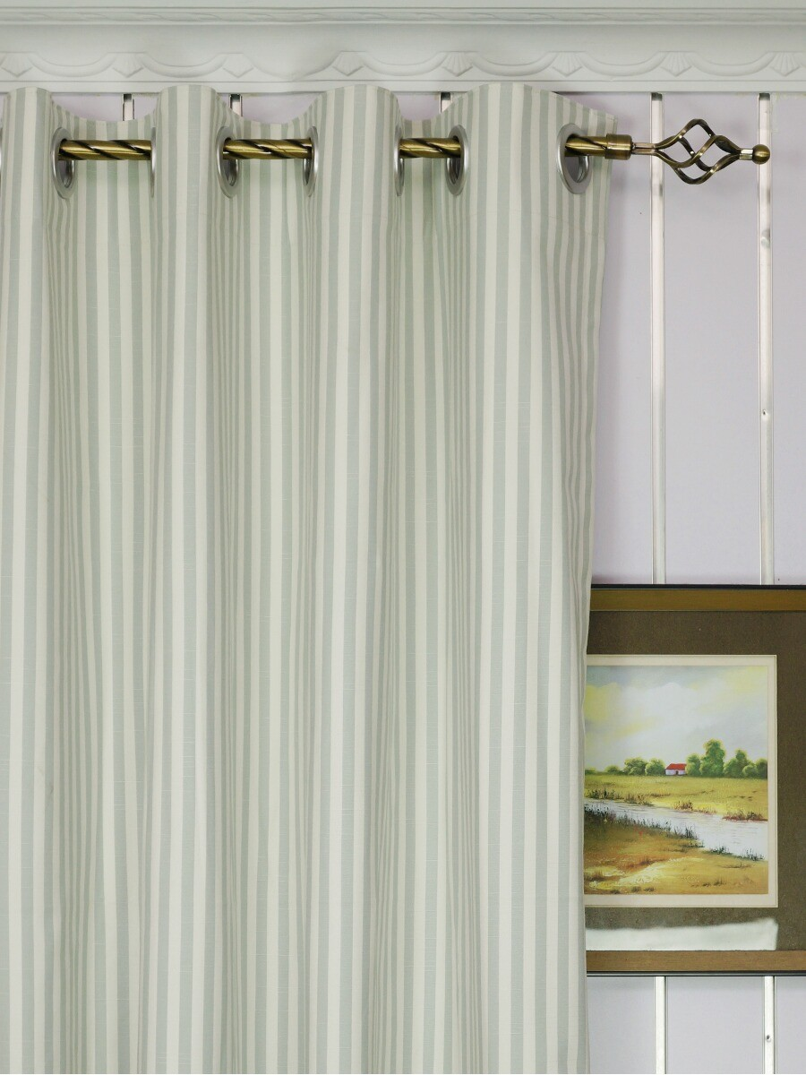 Modern Narrow Striped Blackout Cotton Blend Custom Made Curtains With Coated