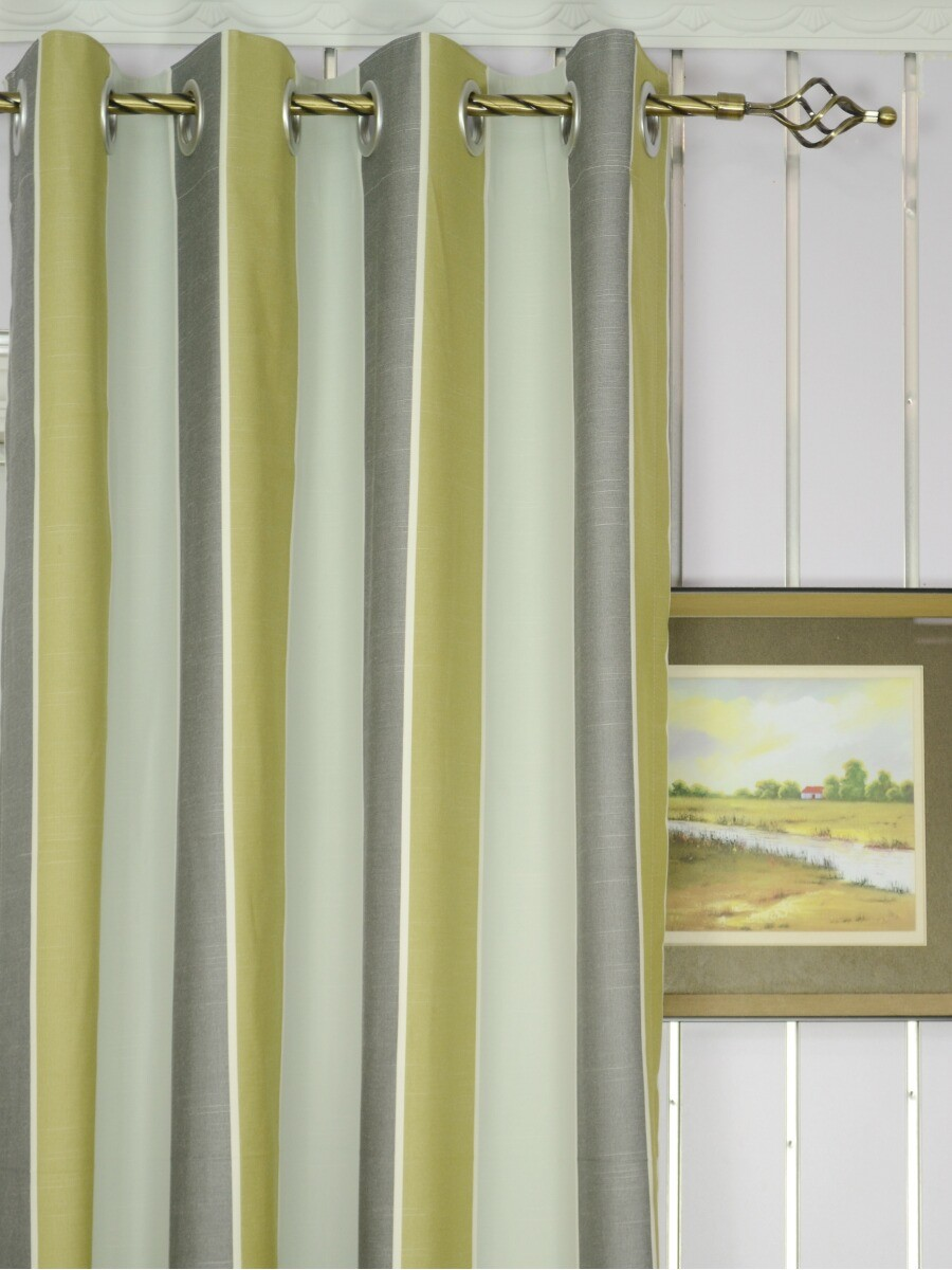 modern wide striped cotton blend blackout grommet ready made curtain -