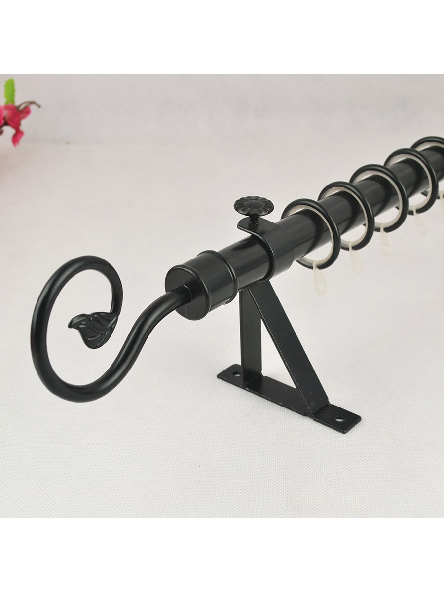 7 8 Black Wrought Iron Single Curtain Rod Set With Tail