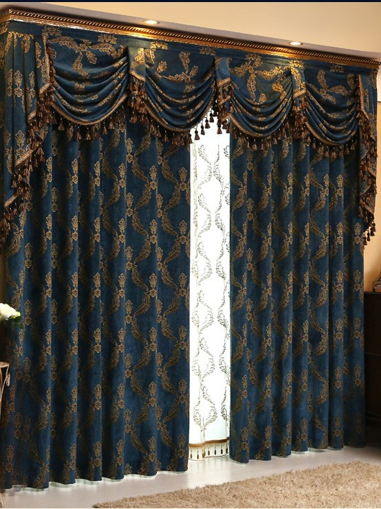 Baltic Jacquard Blue Coffee Brown Color Floral Waterfall