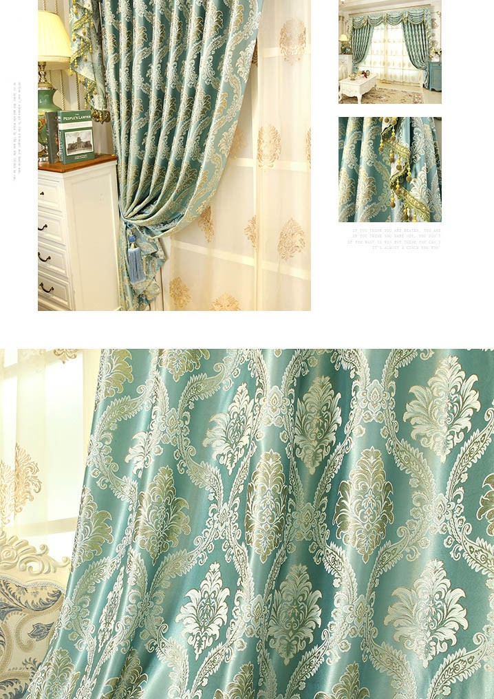 Jacquard Yellow Blue Coffee Color Floral Waterfall And Swag Luxury Valance Sheers Living Room Curtains