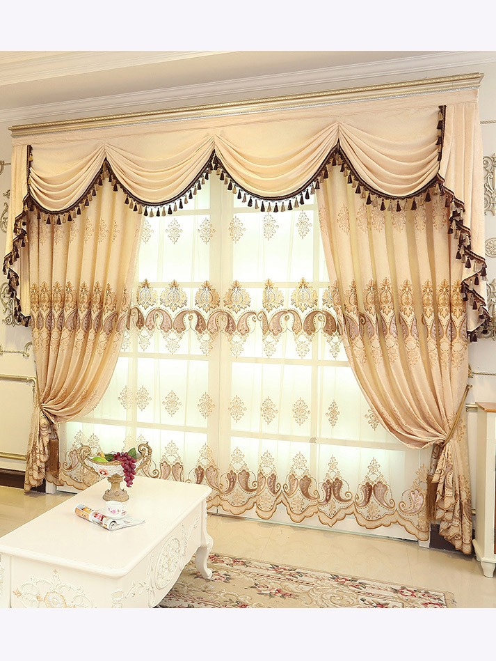 Baltic Embroidered Brown Beige Color Floral Waterfall And