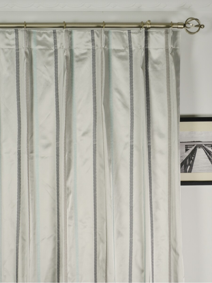 Baltic Embroidered Striped Single Pinch Pleat Curtain - Extra Long ... for Single Pinch Pleat Curtains  45hul