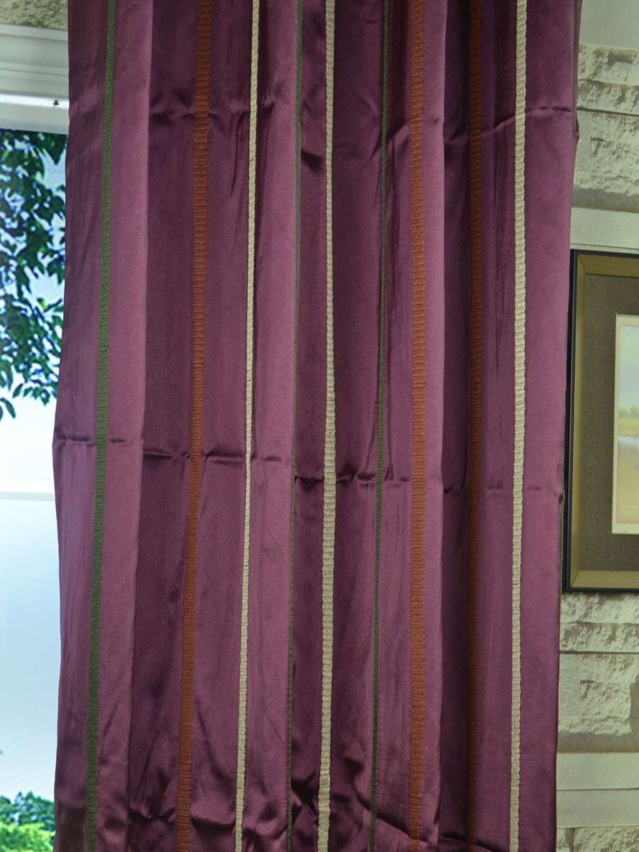 Baltic Embroidered Striped Tab Top Curtain Striped