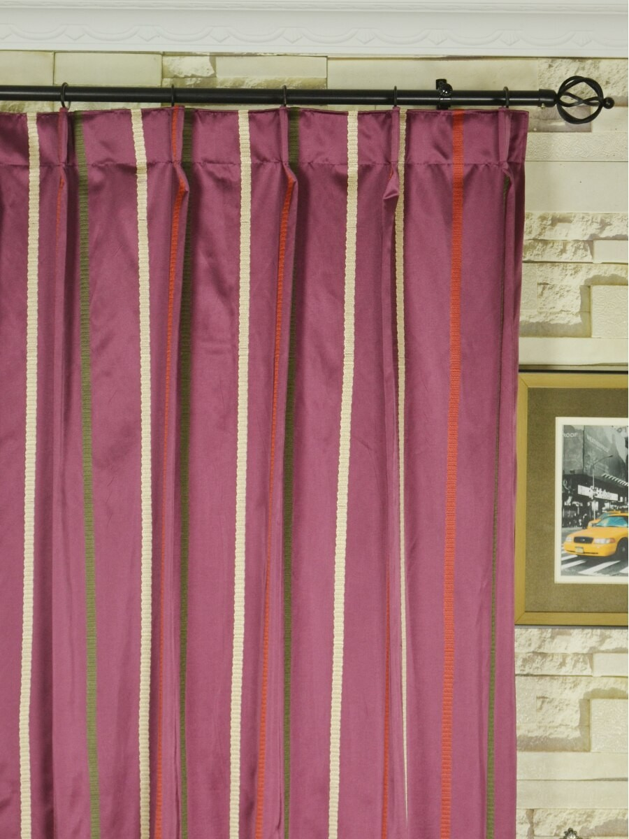 Baltic Embroidered Striped Single Pinch Pleat Curtain