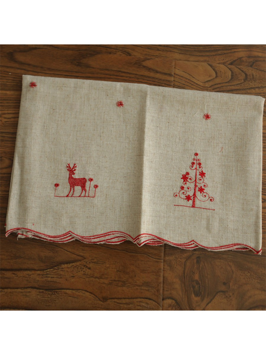 Winston Elk Embroidered Grommet Cafe Curtains for Kitchen and ...