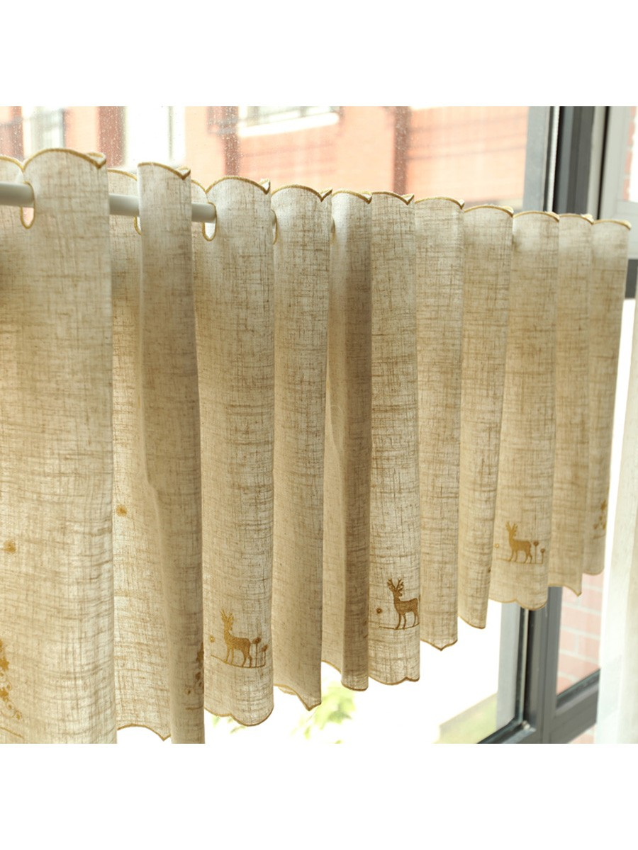Winston elk embroidered grommet cafe curtains for kitchen and bathroom cheery curtains for Kitchen and bathroom curtains