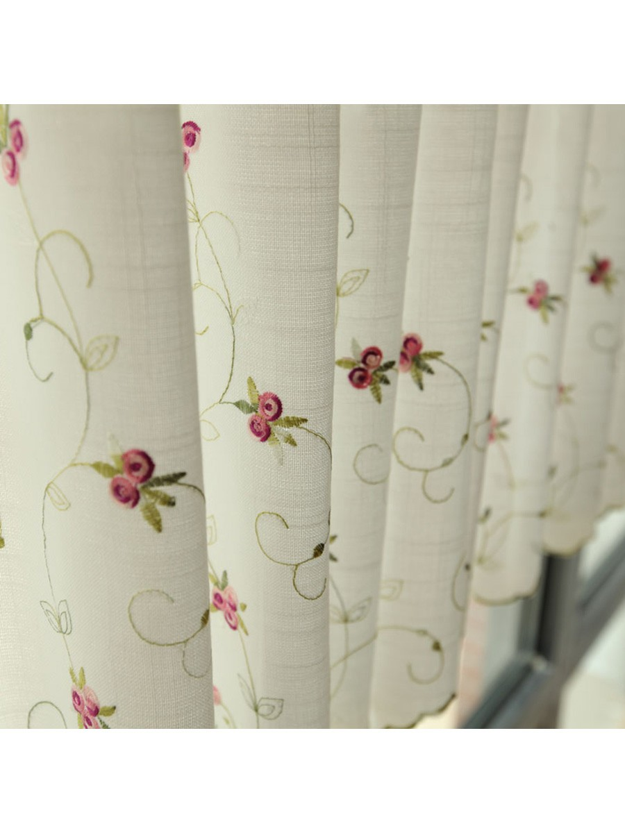 Winston Little Rose Embroidered Grommet Cafe Curtains for Kitchen ...