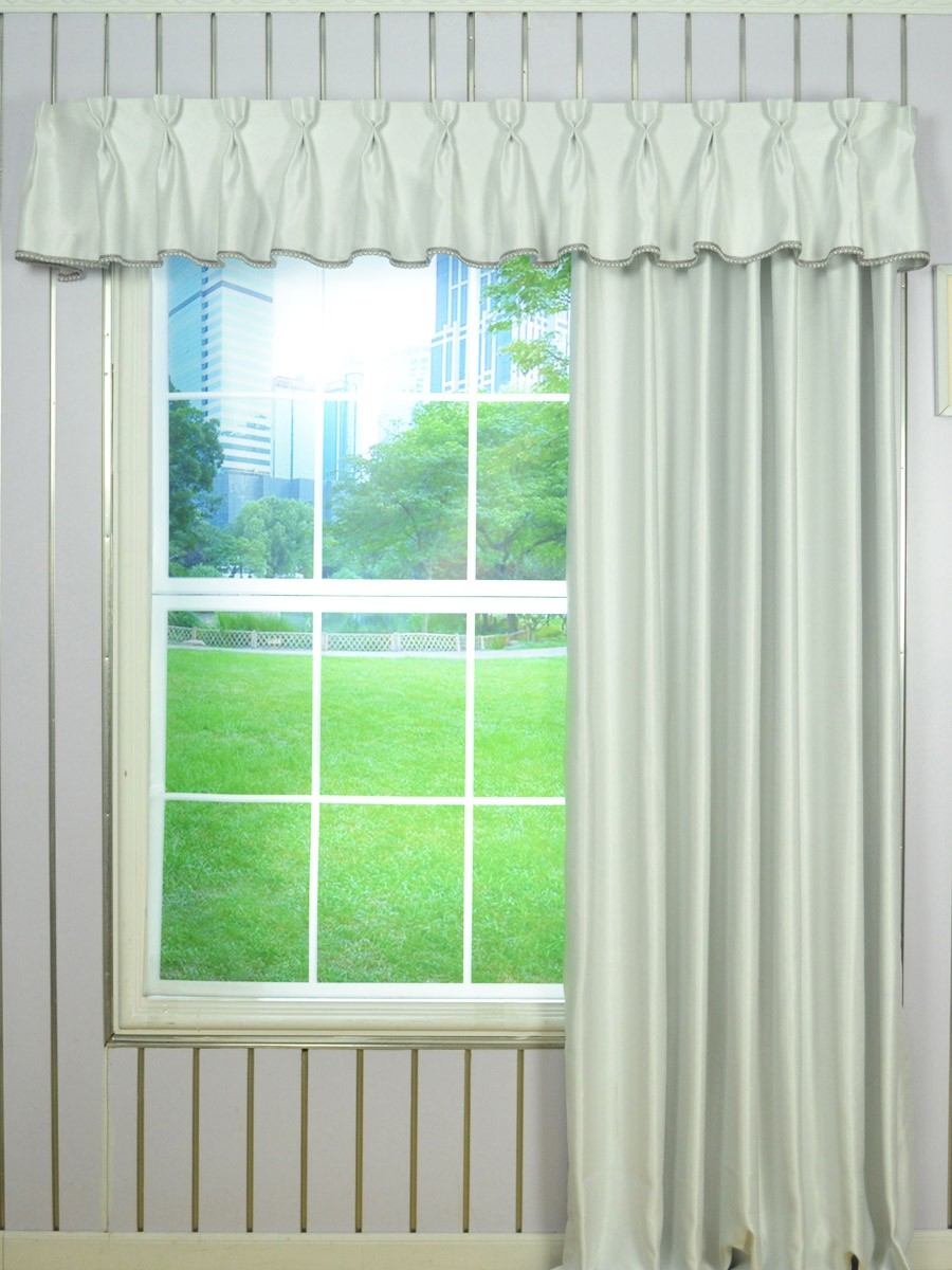 Solid Double Pinch Pleat Valance And Curtains With Gimp