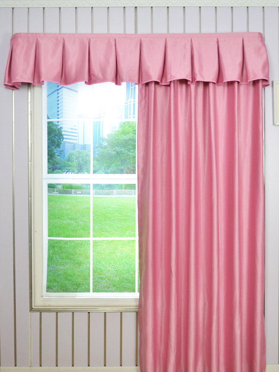 Solid Brown Color Fake Layered Wave Window Valance And